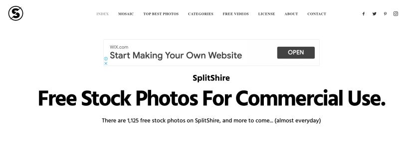 Splitshireのトップ画面