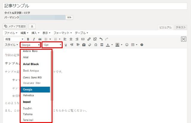 WordPress内のブログ記事の文字フォントと大きさの設定画面