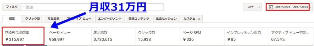 月収31万円のアドセンス管理画面